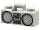Part No: 93221pb03  Name: Minifig, Utensil Radio Boom Box with Handle with Black Cassette Player, Switches and Rimmed Speakers Pattern