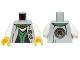Part No: 973pb1581c01  Name: Torso Ninjago Robe with Green Sash, Asian Characters and Gold Snake Emblem Pattern / White Arms / Yellow Hands