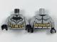 Part No: 973pb2982c01  Name: Torso Batman Logo with Muscles, Gold Outline, Gold Utility Belt Pattern / Light Bluish Gray Arms / Black Hands