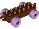 Part No: 11248c03  Name: Duplo Car Base 2 x 6 with Lavender Wheels with Fake Bolts and Open Hitch End