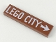Part No: 2431pb522  Name: Tile 1 x 4 with White 'LEGO CITY' and Arrow Pattern