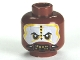 Part No: 3626cpb0571  Name: Minifigure, Head PotC Cannibal White and Yellow Face Paint Pattern - Hollow Stud