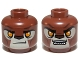Part No: 3626cpb1080  Name: Minifig, Head Dual Sided Alien Chima Lion with Orange Eyes, Tan Face and Brown Nose Closed Mouth / Open Mouth Pattern (Lavertus) - Stud Recessed