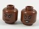 Part No: 3626cpb1996  Name: Minifigure, Head Dual Sided Female, Black Eyebrows, Dark Brown Lips, Lopsided Smirk / Smile Pattern - Hollow Stud