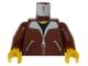 Part No: 973p70c02  Name: Torso Bomber Jacket and Black T-Shirt Pattern / Reddish Brown Arms / Yellow Hands
