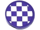 Part No: 14769pb165  Name: Tile, Round 2 x 2 with Bottom Stud Holder with Dark Purple and White Checkered Pattern (Sticker) - Set 41129