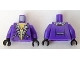 Part No: 973pb0695c01  Name: Torso Jacket with Pockets and Gold Necklace with Skull Pendant Pattern / Dark Purple Arms / Black Hands