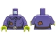 Part No: 973pb2109c01  Name: Torso Female Shirt with Buttons, Belt, Buckle and Patches Pattern / Dark Purple Arm Right / Dark Purple Arm with Dark Pink Patch Left / Lime Hands