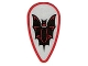 Part No: 2586p4f  Name: Minifigure, Shield Ovoid with Black and Red Bat on Silver Background Pattern