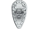 Part No: 2586px5  Name: Minifigure, Shield Ovoid with Bull Head Black Outline on Chrome Silver Pattern