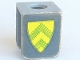 Part No: 3840pb05  Name: Minifigure, Vest with Shield with Yellow and Green Stripes Pattern (Stickers)