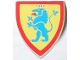 Part No: 3846p4g  Name: Minifig, Shield Triangular with Lion Standing Blue, and Yellow Background Pattern