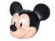Part No: 24629pb01  Name: Minifigure, Head Modified Mouse with Black Ears and Nose and White Eyes Pattern (Mickey)