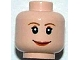 Part No: 3626bpb0205  Name: Minifigure, Head Female with Brown Thin Eyebrows, White Pupils and Short Eyelashes, Wide Smile with Red Lips Pattern - Blocked Open Stud