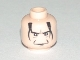 Part No: 3626bpb0275  Name: Minifigure, Head Male HP Snape with Crease Between Eyebrows, White Pupils, Black Hair Pattern - Blocked Open Stud