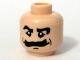 Part No: 3626bpb0281  Name: Minifigure, Head Moustache Bushy, Black Eyebrows, White Pupils Pattern - Blocked Open Stud