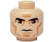 Part No: 3626bpb0314  Name: Minifig, Head Male Black Thick Eyebrows, Large Eyes, Cheek Lines Pattern (SW Clone Wars Trooper) - Blocked Open Stud