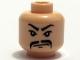 Part No: 3626bpb0353  Name: Minifigure, Head Moustache Fu Manchu, White Pupils and Scowl Pattern - Blocked Open Stud