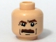 Part No: 3626bpb0357  Name: Minifigure, Head Moustache Brown Bushy, Brown Eyebrows, White Pupils Pattern - Blocked Open Stud