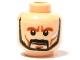 Part No: 3626bpb0420  Name: Minifigure, Head Beard Trimmed, Moustache, Silver Cheek Mark, Determined Expression Pattern - Blocked Open Stud