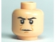 Part No: 3626bpb0487  Name: Minifig, Head Male HP Snape with Brown Lines and Crease Between Eyebrows Pattern - Blocked Open Stud