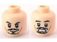 Part No: 3626bpb0559  Name: Minifigure, Head Dual Sided PotC Jack Black Moustache, Smile / Scared Pattern - Blocked Open Stud