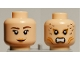 Part No: 3626bpb0570  Name: Minifigure, Head Dual Sided Female Mermaid with Dark Brown Eyebrows and Dimple / Bared Teeth and Gills Pattern - Blocked Open Stud