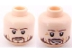 Part No: 3626bpb0576  Name: Minifigure, Head Dual Sided PotC Norrington Ragged Brown Beard, Smile / Frown Pattern - Blocked Open Stud