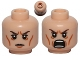 Part No: 3626bpb0811  Name: Minifigure, Head Dual Sided LotR Elrond Calm / Battle Rage Pattern - Blocked Open Stud