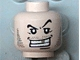 Part No: 3626bpx303  Name: Minifigure, Head Male Arched Eyebrow, White Teeth with Gold Tooth, Fine Stubble and Line under Mouth Pattern - Blocked Open Stud