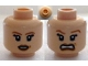 Part No: 3626cpb0556  Name: Minifigure, Head Dual Sided PotC Elizabeth Light Brown Eyebrows, Dimple, Smile / Scared Pattern - Hollow Stud