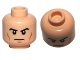 Part No: 3626cpb0704  Name: Minifigure, Head Male Black Eyebrows, Cheek Lines, White Pupils and Frown Pattern - Hollow Stud