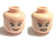 Part No: 3626cpb0706  Name: Minifigure, Head Dual Sided Female, Dark Orange Eyebrows, Eyelashes and Cheek Lines, Smile / Angry Pattern - Hollow Stud