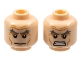 Part No: 3626cpb0707  Name: Minifig, Head Dual Sided Gray Eyebrows, Wrinkles and Cheek Lines, Frown / Angry Pattern - Stud Recessed