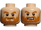 Part No: 3626cpb0724  Name: Minifigure, Head Dual Sided LotR Rohan Soldier Shaggy Beard and Eyebrows Frowning / Grimacing Pattern - Hollow Stud