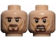 Part No: 3626cpb0727  Name: Minifig, Head Dual Sided LotR Aragorn Brown Beard and Stubble Stern / Frown with Teeth Pattern - Stud Recessed