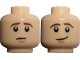 Part No: 3626cpb0730  Name: Minifig, Head Dual Sided LotR Frodo Brown Eyebrows Worried / Lopsided Smile Pattern - Stud Recessed