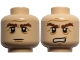 Part No: 3626cpb0733  Name: Minifigure, Head Dual Sided LotR Gimli Bushy Brown Eyebrows, Stern / Grimacing Pattern - Hollow Stud