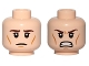 Part No: 3626cpb0812  Name: Minifigure, Head Dual Sided Brown Eyebrows, Wrinkles, Calm / Angry, Clenched Teeth Pattern - Hollow Stud