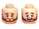 Part No: 3626cpb0836  Name: Minifigure, Head Dual Sided LotR Brown Beard and Freckles, Smile / Scared Pattern (Ori) - Hollow Stud