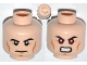 Part No: 3626cpb0931  Name: Minifigure, Head Dual Sided Black Eyebrows, Cheek Lines, Chin Dimple, Determined / Bared Teeth with Red Eyes Pattern (Superman) - Hollow Stud