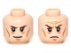 Part No: 3626cpb0939  Name: Minifigure, Head Dual Sided LotR Elrond Brown Eyebrows, Cheek Lines, Smile / Frown Pattern - Hollow Stud