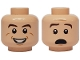 Part No: 3626cpb1128  Name: Minifigure, Head Dual Sided Brown Eyebrows, White Pupils, Smile with Teeth / Scared Pattern (Ray Stantz) - Hollow Stud