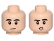 Part No: 3626cpb1137  Name: Minifigure, Head Dual Sided Black Eyebrows, Slight Crooked Smile / Downturned Mouth with Teeth Pattern - Hollow Stud