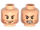 Part No: 3626cpb1152  Name: Minifigure, Head Dual Sided Beard Stubble, Brown Eyebrows, Smile / Angry Bared Teeth Pattern - Hollow Stud