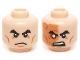 Part No: 3626cpb1173  Name: Minifig, Head Dual Sided Male Black Bushy Eyebrows, Cheek Lines, Scowl / Right Eye Scarred Area and No Pupil Pattern (Flashback Shredder) - Stud Recessed