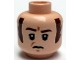 Part No: 3626cpb1200  Name: Minifigure, Head Male Brown Eyebrows and Long Sideburns, Frown and Furrowed Brow Pattern (SW Imperial Officer) - Hollow Stud