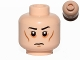 Part No: 3626cpb1257  Name: Minifigure, Head Black Eyebrows, White Pupils, Cheek Lines, Circles around Eyes, Frown Pattern - Hollow Stud