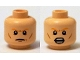 Part No: 3626cpb1265  Name: Minifigure, Head Dual Sided Orange Eyebrows, Cheek Lines, Closed Mouth / Open Mouth with Teeth Pattern - Hollow Stud