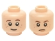 Part No: 3626cpb1340  Name: Minifigure, Head Dual Sided LotR Brown Eyebrows and Freckles, Slight Smile / Frown (Bain) Pattern - Hollow Stud